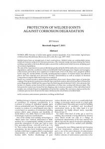 protection of welded joints against corrosion degradation