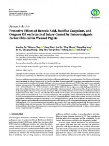 Protective Effects of Benzoic Acid, Bacillus Coagulans, and Oregano