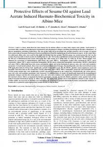 Protective Effects of Sesame Oil against Lead Acetate