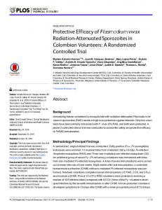 Protective Efficacy of Plasmodium vivax Radiation-Attenuated ... - PLOS