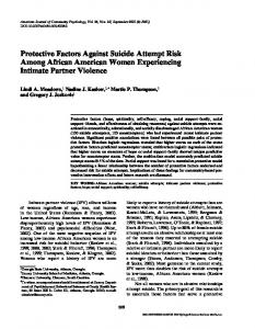 Protective Factors Against Suicide Attempt Risk ... - Wiley Online Library