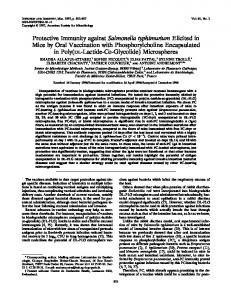 Protective Immunity against Salmonella ... - Infection and Immunity