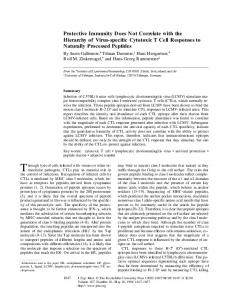 Protective Immunity Does Not Correlate with the Hierarchy ... - CiteSeerX