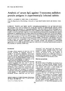 protein antigens in experimentally infected rabbits - NCBI
