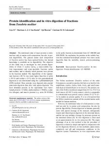 Protein identification and in vitro digestion of fractions from Tenebrio ...