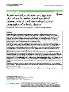 Protein oxidation, nitration and glycation biomarkers for early-stage ...