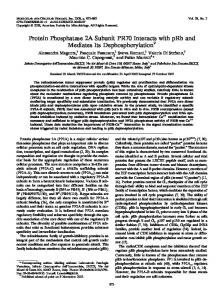 Protein Phosphatase 2A Subunit PR70 Interacts with pRb and ...