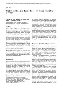 Protein profiling as a diagnostic tool in clinical chemistry - CiteSeerX