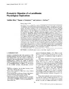 Proteolytic digestion of α-lactalbumin ... - Springer Link