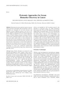 Proteomic Approaches for Serum Biomarker ... - Semantic Scholar