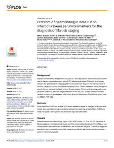 Proteomic fingerprinting in HIV/HCV co-infection reveals ... - PLOS
