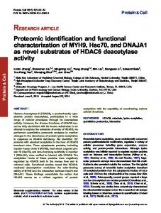 Proteomic identification and functional characterization of MYH9 ...