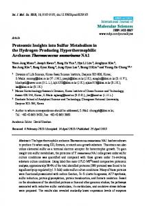 Proteomic Insights into Sulfur Metabolism in the
