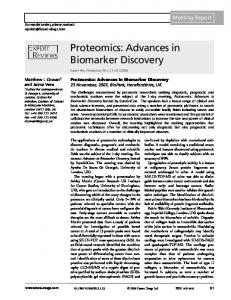 Proteomics: Advances in Biomarker Discovery