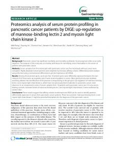 Proteomics analysis of serum protein profiling in