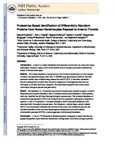Proteomics-Based Identification of Differentially Abundant Proteins ...