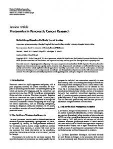 Proteomics in Pancreatic Cancer Research