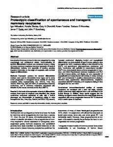 Proteotypic classification of spontaneous and ... - Springer Link