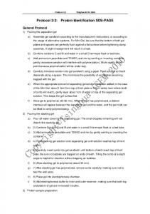 Protocol 2-2: Protein Identification SDS-PAGE