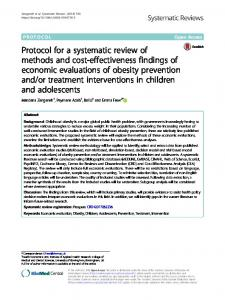 Protocol for a systematic review of methods and ... - Systematic Reviews