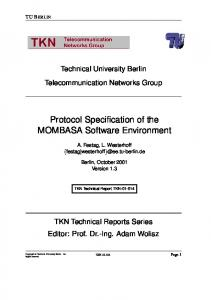 Protocol Specification of the MOMBASA Software ... - TU Berlin
