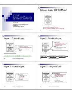 Protocol Stack: ISO OSI Model Layer 1: Physical Layer Layer 2: Data ...