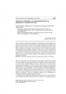 Protolytic Equilibria and Photodegradation of Quercetin in Aqueous ...