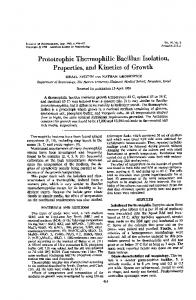 Prototrophic Thermophilic Bacillus: Isolation - Journal of Bacteriology