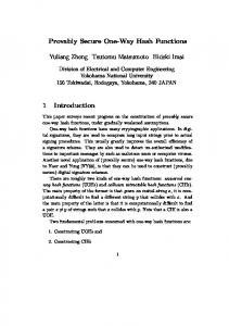 Provably Secure One-Way Hash Functions Yuliang Zheng ... - UAB