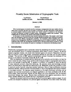 Provably Secure Substitution of Cryptographic Tools - CiteSeerX