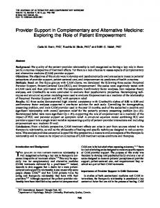 Provider Support in Complementary and Alternative Medicine ...