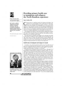 Providing primary health care to immigrants and refugees: the North ...