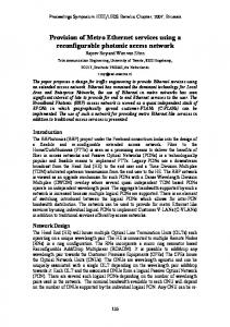 Provision of Metro Ethernet services using a reconfigurable photonic ...