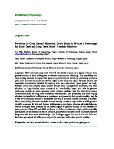 Provision or Good Genes? Menstrual Cycle Shifts in ... - SAGE Journals