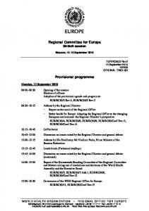Provisional programme - WHO/Europe - World Health Organization