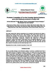 Proximate Composition of Two Sea Cucumber Species Holothuria ...