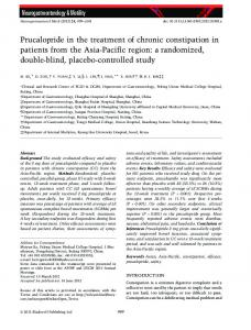 Effect of Prucalopride in the Treatment of Chronic