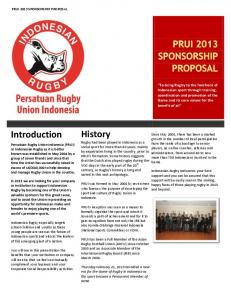 PRUI 2013 Sponsorship Proposal - Pitchero