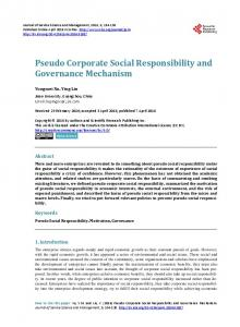 Pseudo Corporate Social Responsibility and Governance Mechanism