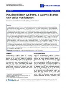Pseudoexfoliation syndrome, a systemic disorder with ocular ...