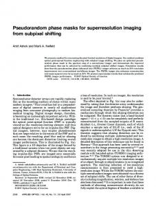 Pseudorandom phase masks for superresolution imaging from