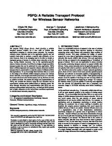 PSFQ: A Reliable Transport Protocol for Wireless Sensor ... - CiteSeerX