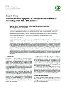 Psoralen Inhibited Apoptosis of Osteoporotic Osteoblasts by ...