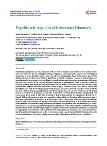 Psychiatric Aspects of Infectious Diseases - Scientific Research