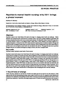 Psychiatric mental health nursing - American Psychiatric Nurses ...