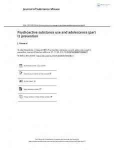 Psychoactive substance use and adolescence (part I ...