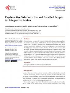 Psychoactive Substance Use and Disabled People - Scientific ...
