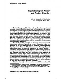 Psychobiology of Anxiety and Anxiety Disorders