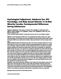 Psychological Adjustment, Substance Use, HIV Knowledge, and Risky