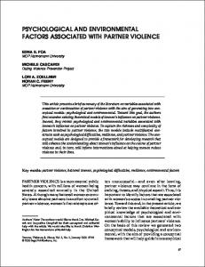psychological and environmental factors associated with partner ...